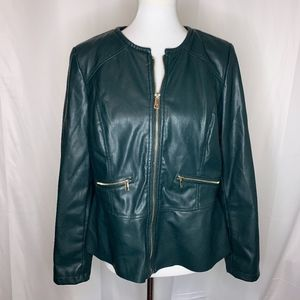 Chico's Hunter Green Faux Leather Jacket, Size 2